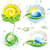 Colección de eco-iconos del resorte. stock de ilustración