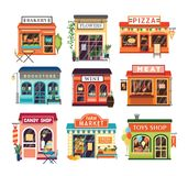Colección de edificios comerciales aislados en el fondo blanco Venta de las tiendas cocida y productos agrícolas, pizza, flores,  stock de ilustración