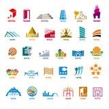Colección de edificios de los logotipos del vector para el turismo del ocio Imagen de archivo libre de regalías