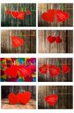 Colección de ejecución roja linda del corazón en la cuerda para tender la ropa En viejo tema del día de madera background Imágenes de archivo libres de regalías
