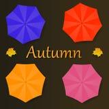 Colección de ejemplo del otoño con los paraguas y la hoja ilustración del vector