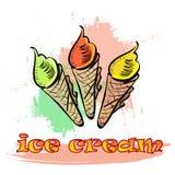 Colección de 3 ejemplos del helado del vector Imágenes de archivo libres de regalías