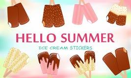 Colección de ejemplos del vector del helado ilustración del vector