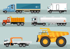 Colección de ejemplos planos del estilo de los camiones ilustración del vector