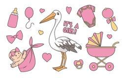 Colección de ejemplos rosados lindos del estilo de la historieta para el bebé recién nacido, incluyendo cigüeña, el cochecito, la ilustración del vector