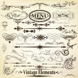Colección de elementos caligráficos del diseño del vector del vintage Fotografía de archivo
