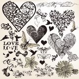 Colección de elementos caligráficos del vector en tema del amor en vint stock de ilustración