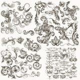 Colección de elementos caligráficos florales decorativos del vector stock de ilustración