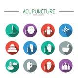 Colección de elementos de los iconos para la acupuntura y el masaje, TCM Imagen de archivo libre de regalías