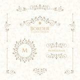 Colección de elementos decorativos Fronteras, monogramas y modelo inconsútil ilustración del vector