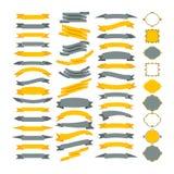 Colección de elementos del diseño del vector Sistema grande de bastidores y de ribb stock de ilustración