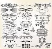 Colección de elementos del diseño retro del vector y de pag caligráficos ilustración del vector