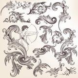 Colección de elementos del remolino del vintage del vector Imagen de archivo libre de regalías