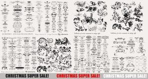 Colección de elementos del vector y de decoraciones caligráficos de la página ilustración del vector
