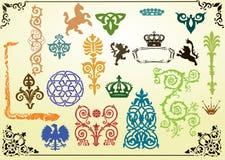 Colección de elementos heráldicos stock de ilustración