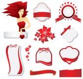 Colección de elementos rojos del diseño ilustración del vector
