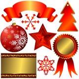 Colección de elementos rojos para el diseño de la Navidad Foto de archivo