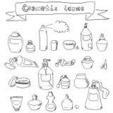 Colección de envases cosméticos a mano stock de ilustración