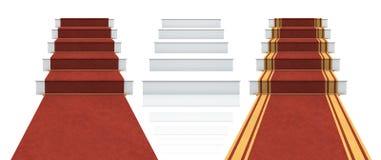 Colección de escaleras blancas con la alfombra roja Fotos de archivo