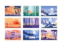 Colección de escena hermosa de la naturaleza, paisaje pacífico con los animales salvajes en diversa hora, plantillas para libre illustration