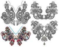Colección de escote floral ornamental Fotografía de archivo