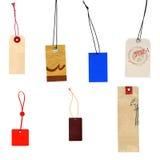 Colección de escrituras de la etiqueta aisladas en blanco Fotografía de archivo libre de regalías