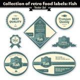 Colección de escrituras de la etiqueta retras del alimento. Pescados Imágenes de archivo libres de regalías