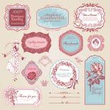 Colección de escrituras de la etiqueta y de elementos de la vendimia