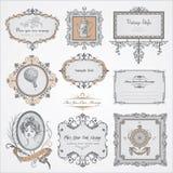 Colección de escrituras de la etiqueta y de etiquetas engomadas de la vendimia Fotografía de archivo