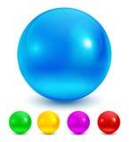 Colección de esferas brillantes coloridas aisladas en blanco Ilustración del vector Fotos de archivo libres de regalías