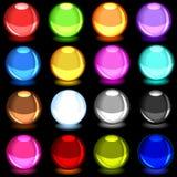 Colección de esferas brillantes coloridas sobre negro stock de ilustración