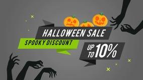 Colección de estilo fantasmagórico de la animación del descuento 10 de la venta de Halloween libre illustration
