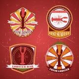 Colección de etiquetas, de insignias y de iconos retros del restaurante de la langosta del grunge del vintage Fotos de archivo libres de regalías