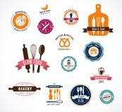 Colección de etiquetas de la panadería y del café del vintage stock de ilustración