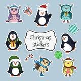 Colección de etiquetas engomadas de la Navidad Fotografía de archivo libre de regalías