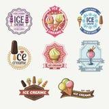 Colección de etiquetas, de insignias y de iconos del helado del vintage ilustración del vector