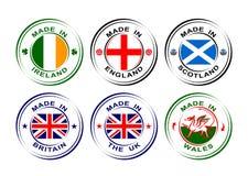 Colección de etiquetas redondas hechas en bandera ilustración del vector