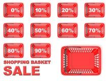 Colección de etiquetas rojas de la venta de la cesta de compras Muestras del descuento Imagen de archivo libre de regalías