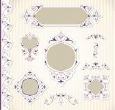 Vector fijado: Elementos y página caligráficos del diseño   Foto de archivo