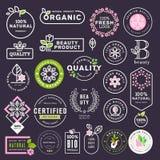 Colección de etiquetas y de etiquetas engomadas para los cosméticos y los productos de belleza naturales ilustración del vector