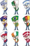 Colección de fans de deportes que sostienen banderas y que las baten en los tambores ilustración del vector
