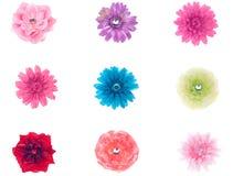 Colección de flores de seda Imagenes de archivo