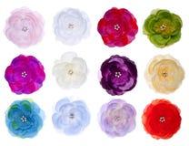 Colección de flores de seda Imagen de archivo libre de regalías