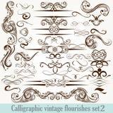 Colección de flourishes decorativos caligráficos del vector en vinta ilustración del vector