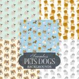 Colección de fondos inconsútiles en el tema de los perros de animales domésticos Foto de archivo libre de regalías