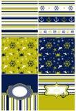 Colección de fondos marinos en azul marino, amarillo y blanco Imágenes de archivo libres de regalías