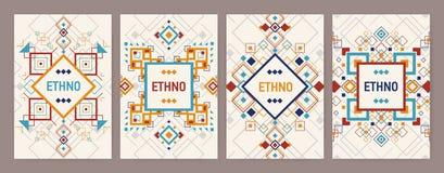 Colección de fondos verticales con el ornamento azteca tradicional o la frontera decorativa Paquete de aviador o de postal libre illustration