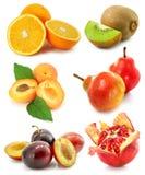 Colección de frutas aisladas en blanco Imagen de archivo libre de regalías