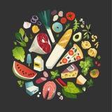 Colección de frutas, de verduras, de verdes frondosos y de hierbas comunes Imagen de archivo