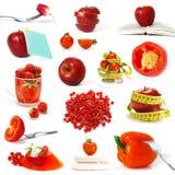 Colección de frutas y verdura rojas Fotografía de archivo libre de regalías